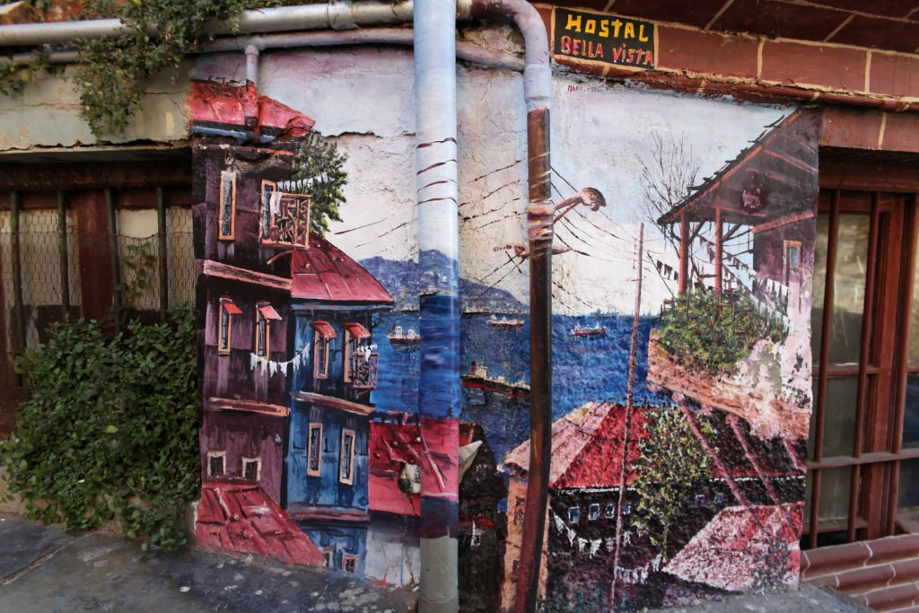 Murales dans le Cerro Bellavista à Valparaiso, Chili.